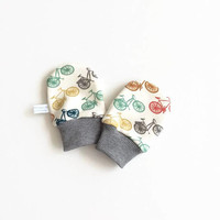 Organic baby mittens, baby scratch mitts, white knit fabric with colorful bicycles. Baby Gift Boy or Girl Hand Covers Gender neutral. Bikes