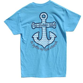 Bjaxx Anchor Holds Chevron Anchor Blue Christian Girlie Bright T Shirt