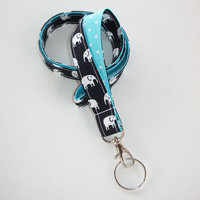 Lanyard ID Badge Holder - Black and white elephants with white pin polka dots on aqua  - Lobster clasp and key ring - keychain