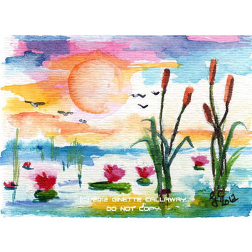 ACEO Painting Wetland Sunrise Cattails in Lilypond by Ginette Callaway  Watercolor and Ink
