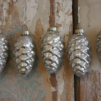 Large Silver Flocked Pinecone Ornament - Mercury Glass