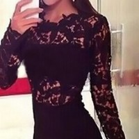 Black Semi Sheer Floral Lace Long Sleeve Flared Circle A Line Mini Dress