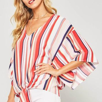 Summer Concert Striped Top - Red
