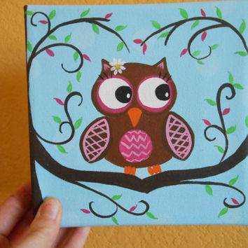 Nursery Owl Wall Art - Pink and Green - Hand Painted 6x6 Pure Cotton Canvas - Owl in Tree - Tree Branches Form a Heart around Owl