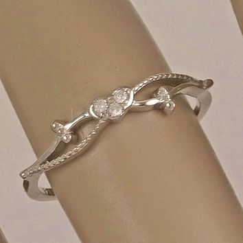 .925 Sterling Silver Tiny Heart CZ Ring Ladies and Girls Size 4-10 Midi Thumb Knuckle