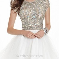 Beaded Short Sleeve Tulle Prom Dress