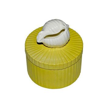Pre-owned Fitz and Floyd Yellow Shell Trinket Box