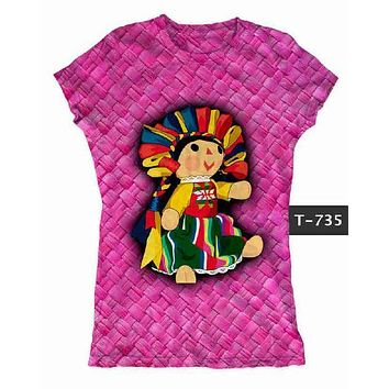 Mexican Doll Graphic Tee t-shirt Pink