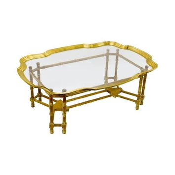 Pre-owned Bamboo Form Coffee Table-Brass and Glass Tray Top
