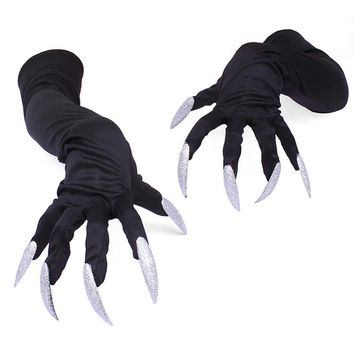 Long Fingernail Milk Silk Glove Halloween Party Cosplay Props Gloves 5 Acrylic Nails Claw Punk Performance Thin Gloves Cuffs G74