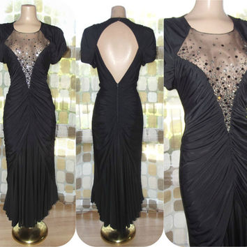 Vintage 80s as 40s Deep Plunge Draped Art-Deco Cocktail Dress Bombshell Star Sequins Sheer Mesh Open Back M/L 10