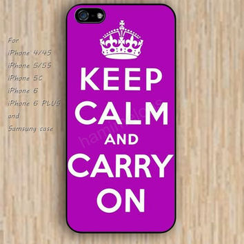iPhone 6 case keep calm carry on pink Purple iphone case,ipod case,samsung galaxy case available plastic rubber case waterproof B131