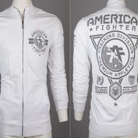 Licensed Official AMERICAN FIGHTER Men Track Jacket Shirt MASSACHUSETTS Athletic WHITE Gym UFC $70