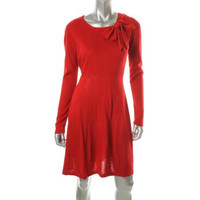 Eliza J Womens Missy  Knit Long Sleeves Sweaterdress
