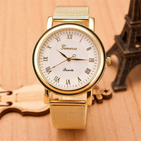 Womens Girls Unique Casual Sports Gold Alloy Strap Watch Best Christmas Gift 386