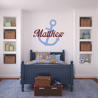 Nautical Wall Decor - Nautical Wall Decals - Nautical Name - Nautical Signs - Nautical Baby - Nursery Wall Decals - Custom Decals