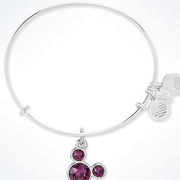 Disney Mickey Mouse Birthstone Bangle by Alex and Ani February Silver Finish New