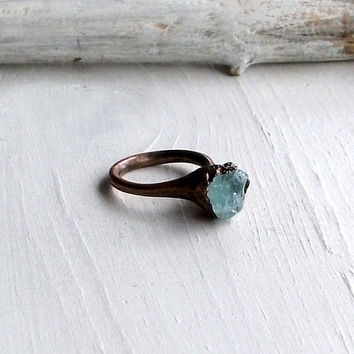 Aquamarine Ring Gemstone Ring March Birthstone Ring Cocktail Ring Stone Mineral Pale Sky Blue For Her Artisan Handmade