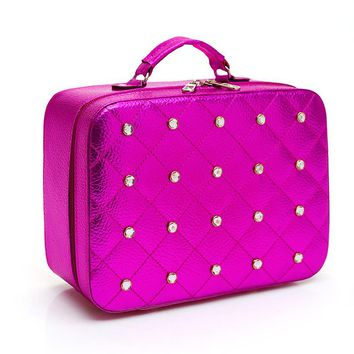 2017 New Arrival Women PU Leather Cosmetic Bag Large Capacity Fashion Makeup Bag Portable Storage Bag