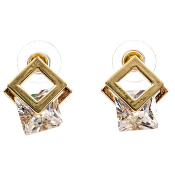 Cubic Zirconia Earrings Square Cut Stud Floating in Gold Plated Frame