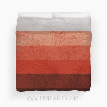 Coral & Concrete Ombre Duvet Twin King Queen size Living Reef Ocean Marine Orange Red Sea Bedroom Room Decor Decorative Geometric Color Grey