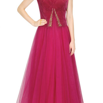 Fuchsia layered anarkali by JJ VALAYA