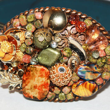 Women's Belt Buckle, Vintage Jeweled Belt Buckle