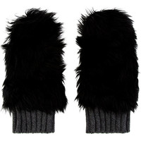 Black Fur Shearling Hybrid Cashmere Mittens