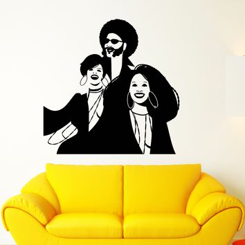 Vinyl Wall Decal Disco Funny Party African Woman Man Dancing Stickers (2668ig)