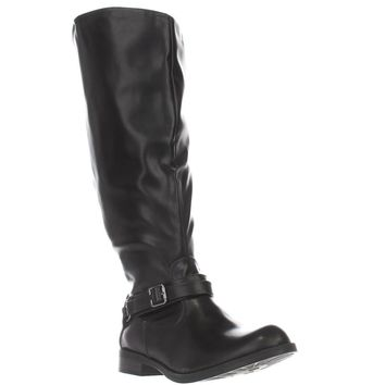 Easy Street Quinn Double Wide Calf Harness Boots, Black, 10 US