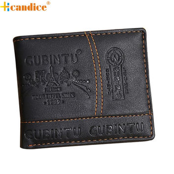 Hcandice Best Gift Men Paris Leather Card Cash Receipt Holder Organizer Bifold Wallet Purse Dec23