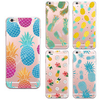 Fruit Pineapple Case Cover For iphone SE 5 5S 6 6S Plus Transparent Silicone Cell Phone Cases -0324