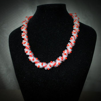 Beaded Crochet Rope Necklace Lady in Red, Geometric beaded necklace, Jewelry handmade, Beadwork, Gift for Her, Gift idea for Christmas
