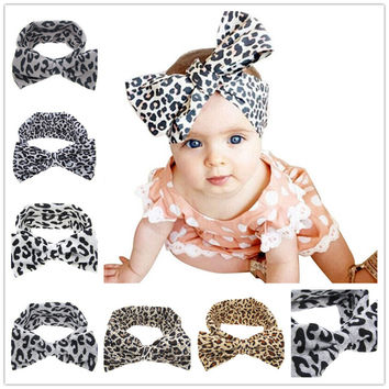 Baby Girls Kids Soft Stretch headband Big Bow Turban Bowknot Hairband Leopard Head Wrap Hair Band Accessories 1pc HB510