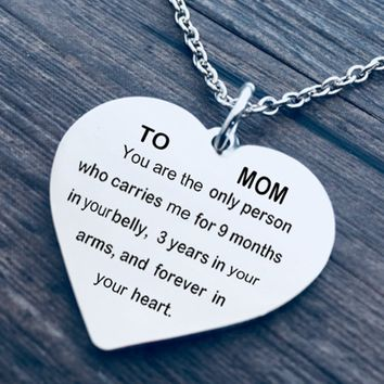 TO My Mom Lettering Stainless Steel Necklace Clavicle Chain Mother's Day Gift Heart Pendant Necklace