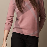 Check Detail Wool Cashmere Sweater