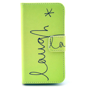 "Leather ""Laugh"" Flip Case Cover For iphone 5c With Card Holder"