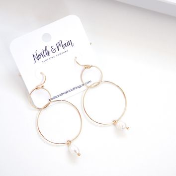 Flirty Double Hoop Earrings, Gold