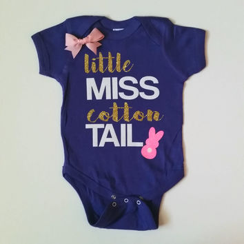 Little Miss Cotton Tail - Easter - Girls Onesuit -  Body Suit - Onesuit - Ruffles with Love - Baby Clothing - RWL Kids