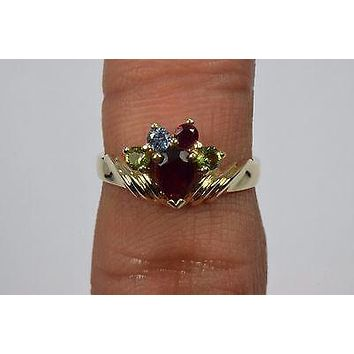 14k Yellow Gold .63 ct Ruby Topaz & Peridot Cocktail Ring Pear Round Size 6 BZ