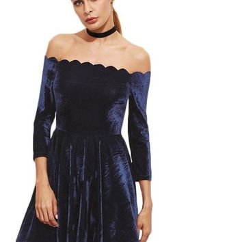 SheIn Women Mini Dress Sexy Club Dresses Navy Scallop Off The Shoulder Three Quarter Length Sleeve Velvet A Line Dress
