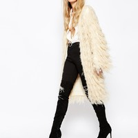 Story Of Lola Oversized Chunky Boho Cardigan In Shaggy Faux Fur
