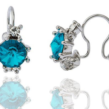 Silvertone with Turquoise Non Pierced Three Stone Tragus, Nose and Ear Cuff