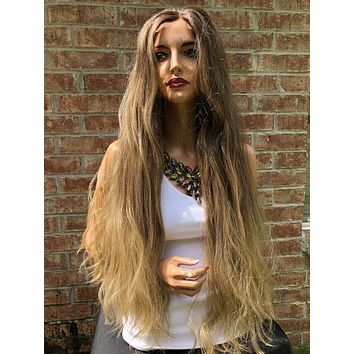 Blond Ombré Balayage Long Swiss Lace Front Wig 28"