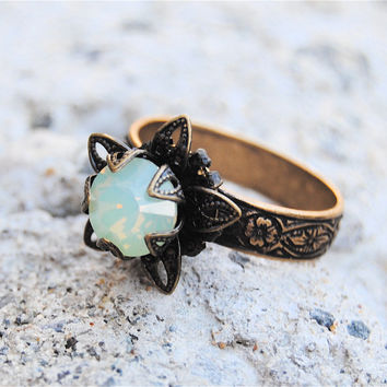 Swarovski Crystal Ring - Stargazer Victorian - Vintage Green Opal and Antiqued Brass Adjustable Ring