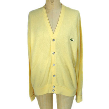 1970s Izod Lacoste Cardigan Sweater / Yellow / Preppy / Athletic Sweater / Mens Vintage Sweater / Size Small