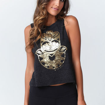 FLOWER HAMSA CROP TOP VINTAGE BLACK