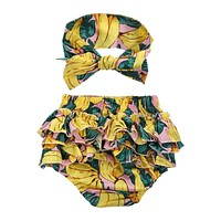 2pcs Infant Baby Girls Clothing Sets Cotton Green Floral Print Briefs + Headband Summer Clothes Set For Baby