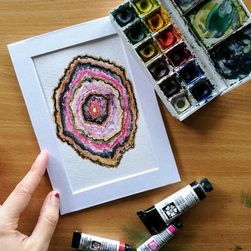 Geode II: Rose and Gold | Original Watercolor Painting | Decor