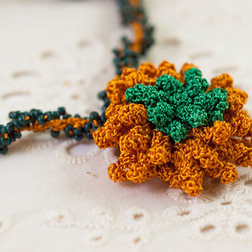 Orange Green Rose Crochet Pendant  Necklace - Fibert Art Jewelry - Pendant Necklace - Ottoman Tile - Textile Statement jewelry